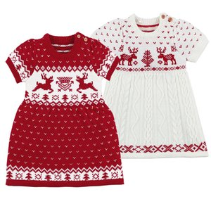 2019 Autumn Winter Girls Wool Knitted Sweater Christmas Deer Baby Girl Dress Girls Dresses Party And Wedding Baby Girl Clothes Z1127