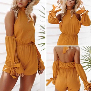 Mode Femmes Sexy Holdess Playssuit Summer Beach Loose Yellow Yellow Rompers Sexy Board Bodysuits Femme Jumpsuit occasionnel