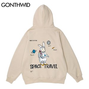 GONTHWID Rabbit Astronaut Print Hoodie Sweatshirts Streetwear Hip Hop Harajuku Casual Hooded Pullover Men Women Fashion Tops 201124