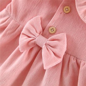 Toddler Autumn Wear Solid-Color Cute Ruffle Wide-Lapel Long-Sleeves Fluffy Dress with Bow Decoration for Baby Girl 0-4 Years
