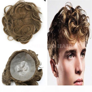 Fashion Short 6inch Virgin Indian Hair Natural Wave Brown Hair Toupee Thin Skin Toupee for Men Free Shipping