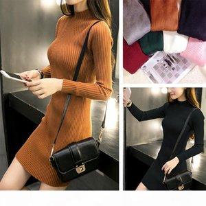 High Quality Knitted Cotton Skinny Stand Collar Women Sweater Dresses Elastic Plus Size Winter Warm Vestidos Feminino