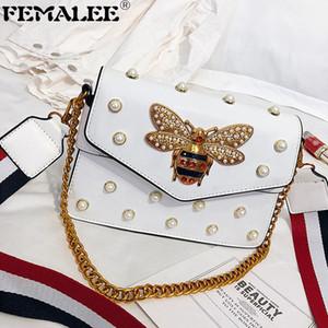 Летние дикие пчелиные пакеты сумки заклепки жемчуга сумка роскошные цепные квадратные сумки женские плеча Crossbody Bolsa новый маленький кошелек Q1207