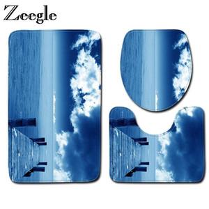 Zeegle 3pcs Bathroom Mat Set Landscape Pattern Bath Mat Anti-slip Bathroom Floor Mats Microfiber Toilet and Bath Rug Sets