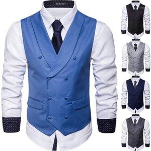 Hot Style Fall 2020 Novos Homens Pure Color Ma3 Jia3 Negócios Casual Casual Colete1