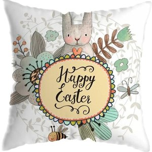 45 * 45 cm 2021 Paskalya Yastık Kılıfı Kısa Peluş Yastık Kapakları Karikatür Tavşan Merhaba Bahar Mektup Çiçekler Baskı Araba Ev Kanepe PillowsLiP LLY2011