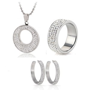 Hot Sale Jewelry Set Stainless Steel Jewelry CZ Crystal Enamel Earring Necklace Ring Bridal Jewelry Set Choose Size of Ring 201123