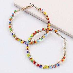 Fashion Big Circle Hoop Earring Handmade Beads Loop Huggie Earings For Women Party Creole Jewelry Pendientes Aretes Brinco Femme1