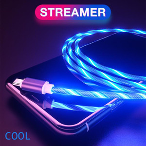 2.4A LED Glow Flowing Type C Cable Luminous Streamer TPE Cables Charging Micro USB Cable For Huawei Samsung Xiaomi Android Wire Cord
