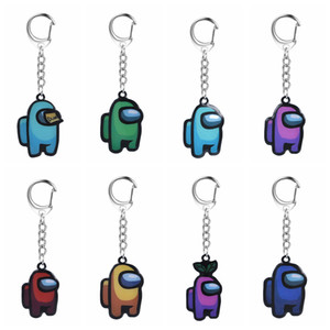Among Us Keychain Space Wolf Acrylic Colourful Keyrings Cartoon Game Key Holder Stainless Steel Car Keys Bag Pendent Decoration Trinket