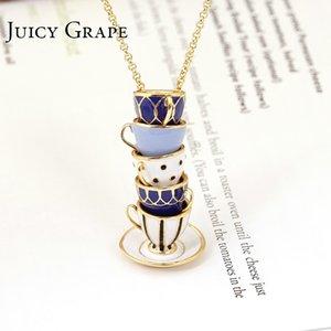 Juicy Grape Hand Painted Enamel Necklace Jewelry Teacup Pendant Long Chain Choker Necklace Bijoux Femme Bijuteria Women Y19061703
