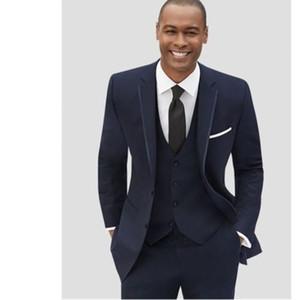 New Men's suit Navy Best Man Groomsmen Suit Wedding Groom Tuxedo Dinner Party Business custom size coat + pants + vest, tie