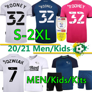 2020 21 Jerseys de football du comté de derby Rooney Chemises de football à la maison Blanc Bleu Troisième rose Lawrence Warhorn Customized Hommes Kits Kids Uniforme