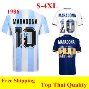 Thai quality 1986 Retro jersey Argentina Maradona Soccer Jerseys 2021 Boca Juniors home away Special printing Maradona football shirt 4XL