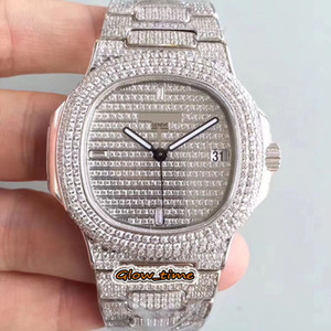 DMF Super-version 5719 1G-001 Silver Diamond inlay Case Cal.324 SC Automatic Mens Watch Full Diamonds Dial Iced Out Full Luxry Gents Watches