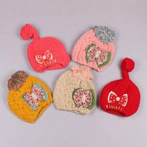 Clearance sale Fashion Wool Cap Skull Cap Children Knit Hat Crochet Beanie Hat Cute Girls Winter Caps Bows Flowers Z165