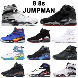 Jumpman 8 8s الرجال كرة السلة أحذية أكوا أسود أبيض bred بورغوندي كروم 3peat عيد الحب ندفة الثلج رجل المدربين الرياضة رياضة