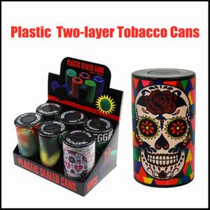 Kräuterschleifmaschinenschleifer-Kunststoff-gedrückter Zwei-Schicht-Tabak-Dosen-Mode-Geisterkopf-Tasche Blumenblatt-Tabak-Box-Tabak-Tabak kann benutzerdefiniertes Rauchensatz