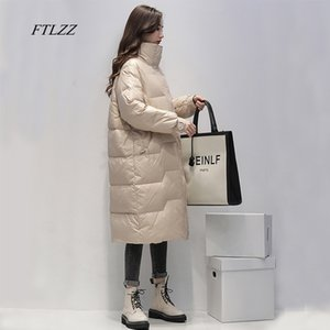 FTLZZ Winter Stand Collar Solid Long Down Jacket Women 90% White Duck Down coat Yellow Down Parka Blue Thick Warm Snow Outerwear J1203