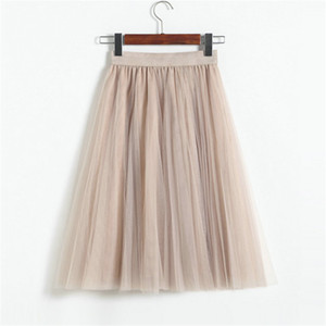 Vintage Women Tulle Skirt 2020 Autumn Elastic High Waist Mesh Skirts Long Pleated Tutu Skirt Female Jupe Longue JX8042 J0118