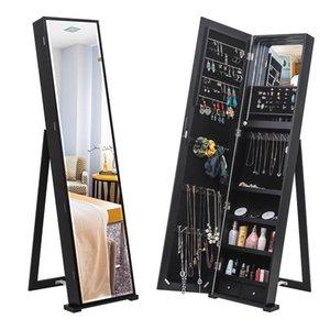 جديد كامل مرآة مع أضواء led الطابق الخشبي الدائمة مجوهرات تخزين مرآة خزانة لوازم التخزين المنزلية