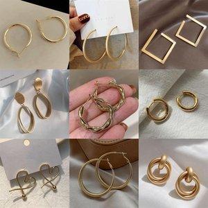 Heyuyao Vintage 2021 Yeni Moda Altın Renk Metal Damla Küpe Kadınlar Için Trendy Basit Düğüm Büküm Bildirimi Küpe Takı