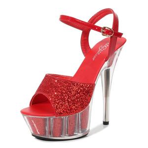 Ltarta Frauen Sexy Fischzehen Heels SUPER HIGH Heels Nachtclub Sandalen Schuhe Catwalk Pole Tanzschuhe Kristall Plattform LFD C0202