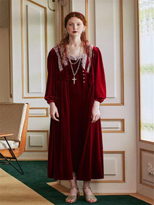Robe Set Women Red Morning Gown Autumn Winter Sleepwear Elegant Lady Romantic Robe Nightgown