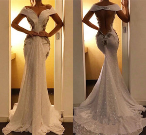 2021 Arabic Aso Ebi Prom Dresses Vintage Shiny Sequined Lace Appliqued Eveing Gowns Off Shoulder Sexy Backless robes de soirée Formal AL7828