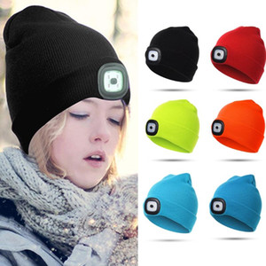 Child Headlight Cap 4 LED Night Lighting Beanie Hat with Light USB Rechargeable