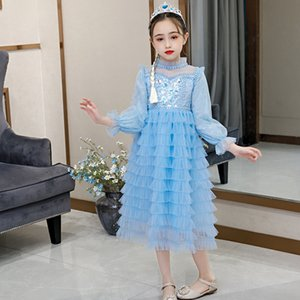 Halloween Girls Blue Long Cupcake Costume Princess Snow Queen Dressing Child Carnival Fancy Party Dress Kids Performance Dresses J1205