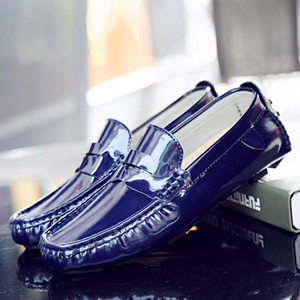 Mens driver shoes patent loafer big size man shoes colorful bright flats slip-on leisure fashion zy801p