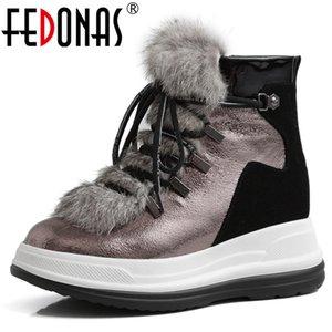 Fedonas Brand Women Wool Bool Boots Invierno Cálido Botas cortas Genuinas Oficina de Cuero Zapatos Casual Zapatos Mujer Pisos Planos Botas C1120
