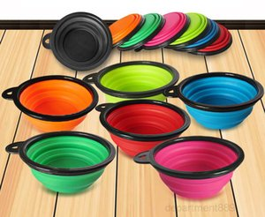 Pet Dog Cat Feeding Bowl Travel Collapsible Water Dish Household Feeder Silicone Foldable 7 Colors To Choose OWD2733