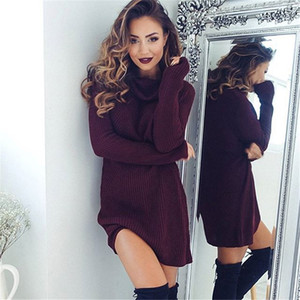 Forefair Turtleneck Long Sleeve Sweater Dress Women Autumn Winter Loose Tunic Knitted Casual Wine Red Clothes Solid Dresses Q1229