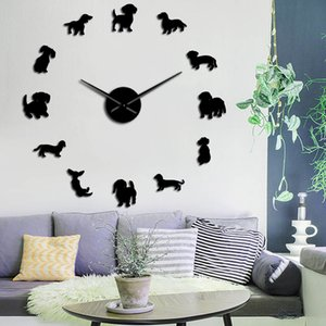 Dachshund Dog Breeds Large DIY Wall Clock Watch Puppy Animals Mirror Stickers Pet Store Decor Hanging Watch Gift For Dog Lover Y1121