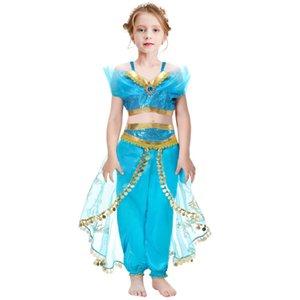 الأزرق علاء الدين اللباس الياسمين تأثيري حلي عيد هالوين حزب الاطفال الأمراء لعب دور الأطفال ملابس الفتيات الملابس 3-8s
