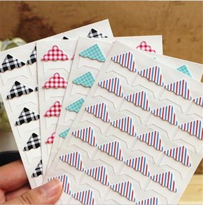 24 stickers sheet DIY Retro plaid stripes photo Corner Paper Stickers for Photo Album fitting Handwork Frame Albums Decoration Scrapbooking