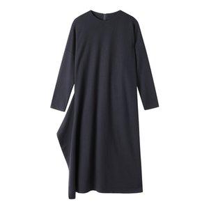 Женщины осень свободные длинные платья 2020 сплошные о шеи вязаное платье женские длинные рукава повседневное платье халат Femme