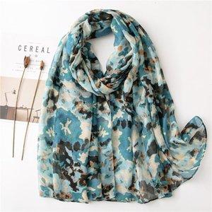 2020 graffiti flower print hijab scarf fashion women long shawl popular Design scarves and shawls muslim hijabs