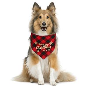 2020 Dog Bandana Plaid Bibs Pet écharpe d'or réglable Cat Plaid imprimé Snowflakes Pet Costume de Noël Accessoires pour chiens