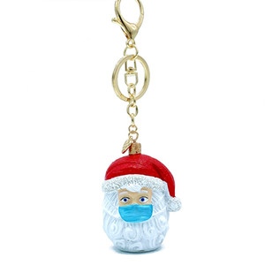 Christmas New Creative Keychain Cartoon Resin Anti-epidemic Mask Santa Claus Pendant Key Ring Holder Christmas Gift