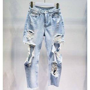 Getsring Женщина женщин рваные джинсы Высокая талия Hole Denim пят отдыха карандаш штаны