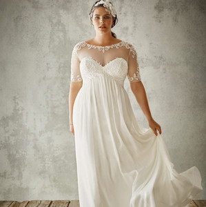 Plus Size A Line Wedding Dresses Sheer Neck Lace Appliqued Bridal Gowns Bohemia Boho Beach Wedding Dress