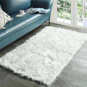 Super Soft Fluffy Bedroom Rug Luxurious Plush Faux Fur Sheepskin Area Rug Living Room Carpet Home Decor Kids Girls Shaggy Carpet
