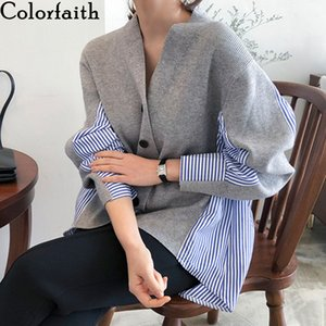 Colorfaith New 2020 Autumn Women's Sweaters Patchwork Srtiped Knitting V-Neck Stylish Knitted Button Cardigans Loose Tops SW8161 Z1123
