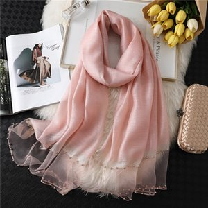 new spring and autumn Scarf dual purpose fashion gold silk Sequin thin bead solid color Scarves women long shawl wraps Accessories