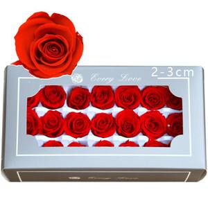 Korunmuş Gül Çiçek Hediye Kutusu Ebedi Gül Kafaları Düğün Parti Ev Dekorasyon Gül Çiçek Hediye Favor 2-3 cm 21 adet