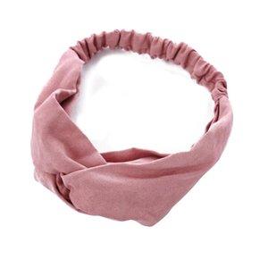 Frauen Frühling Wildleder Stirnband Vintage Kreuz Knoten Elastische Haarbänder Massive Rosa Rot Schwarz Mädchen Haarband Für Frauen Haarschmuck Q SQCKJP