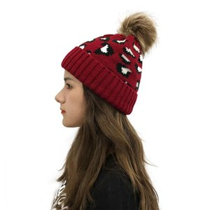 New Leopard Knitted Beanie Pom Pom Fur Ball Beanies Women Winter Warm Wool Knitting Hat Outdoor Keep Warm Beanie Caps Party Hats CON38793